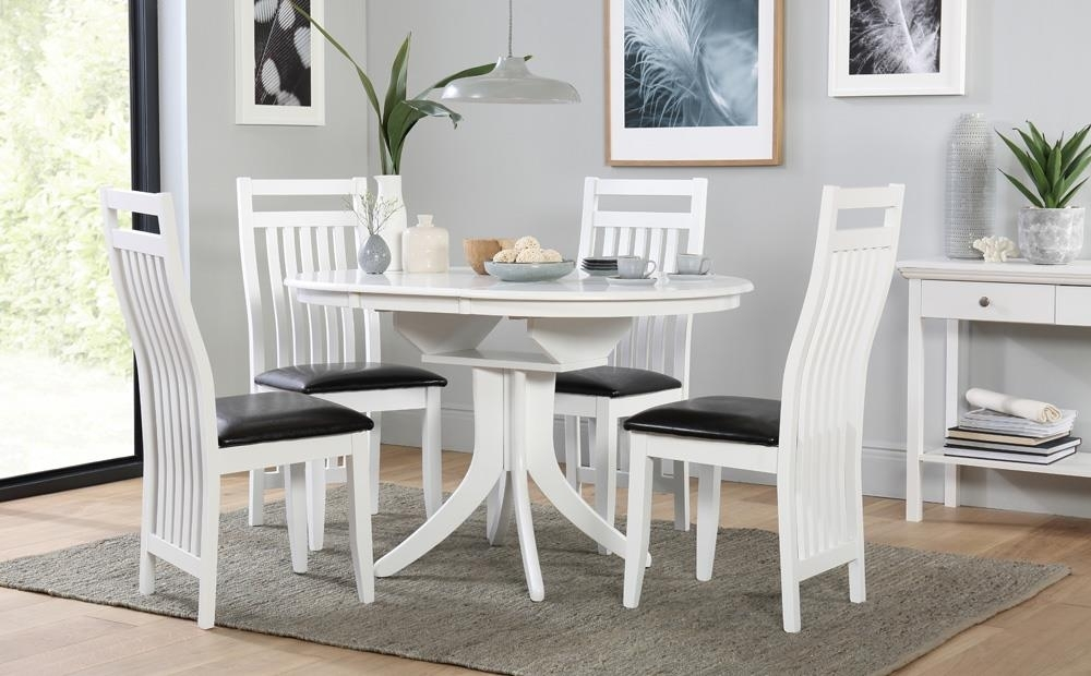 Hudson Round White Extending Dining Table And 4 Chairs Set (Java throughout Hudson Round Dining Tables
