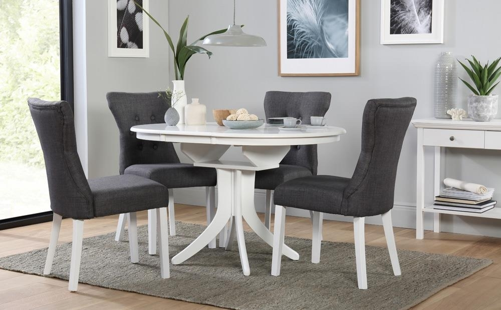 Hudson Round White Extending Dining Table With 4 Bewley Slate Chairs Inside Dining Room Chairs Only (View 9 of 25)