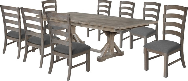 Hudson Weathered 9 Piece Dining Set – Transitional – Dining Sets In Walden 9 Piece Extension Dining Sets (View 10 of 25)