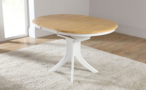 Hudson White Two Tone Round Extending Dining Room Table 90 120 Small Within Small Round Extending Dining Tables (Image 15 of 25)