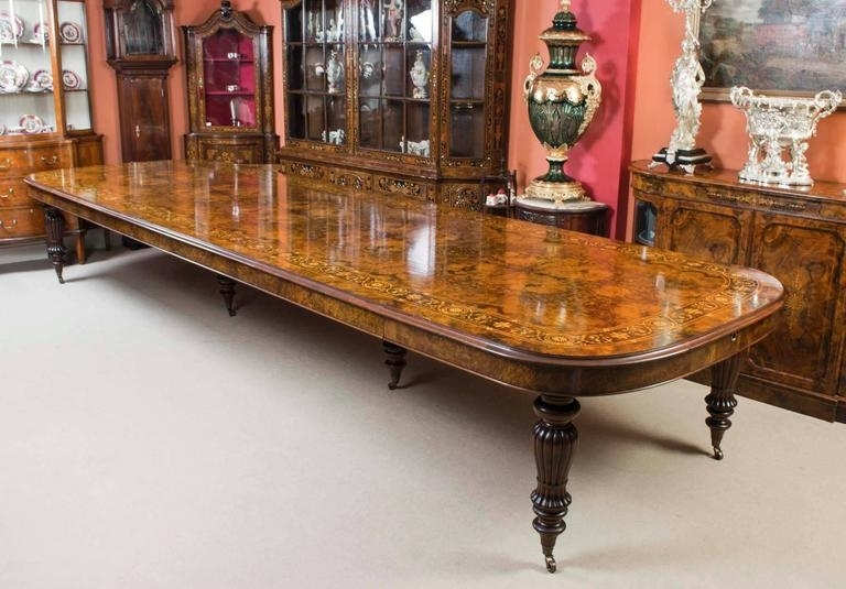 Huge Bespoke Handmade Marquetry Walnut Extending Dining Table 18 In Walnut Dining Table Sets (View 8 of 25)