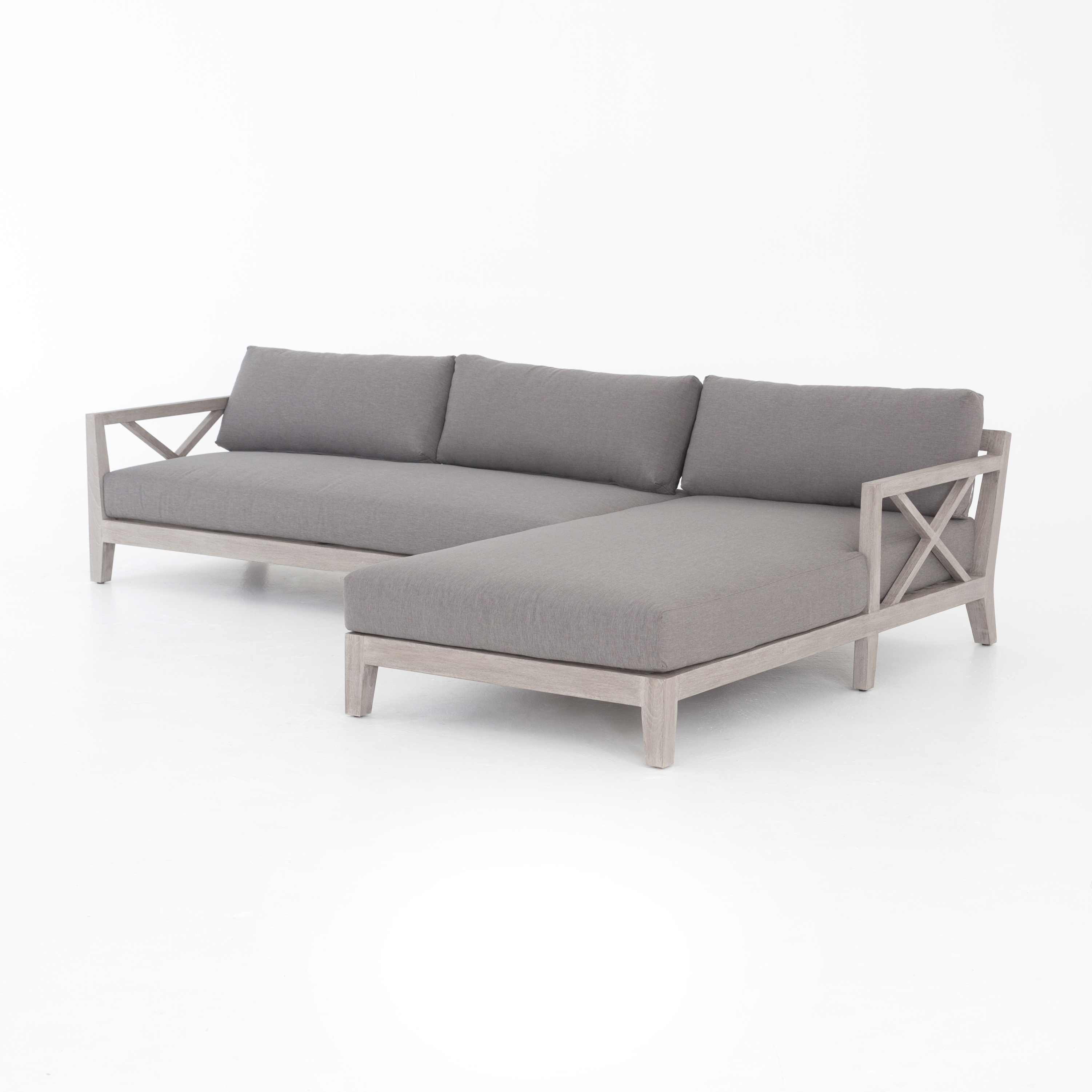Huntington 2 Pc Outdoor Sectional Raf Chaise • Q&c Home Intended For Cosmos Grey 2 Piece Sectionals With Raf Chaise (Image 12 of 25)