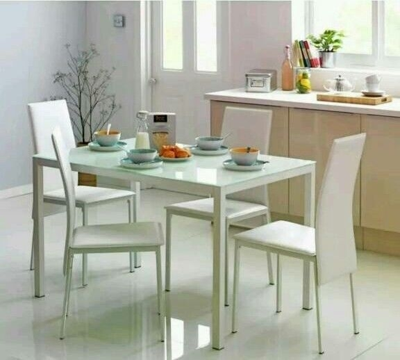 Hygena Lido Glass Dining Table And 4 Chairs – White (Brand New) | In Inside Glass Dining Tables White Chairs (View 11 of 25)