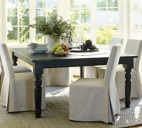 I Am Dying To Have This Black Square Dining Table From Pottery Barn With Ina Pewter 60 Inch Counter Tables With Frosted Glass (View 21 of 25)