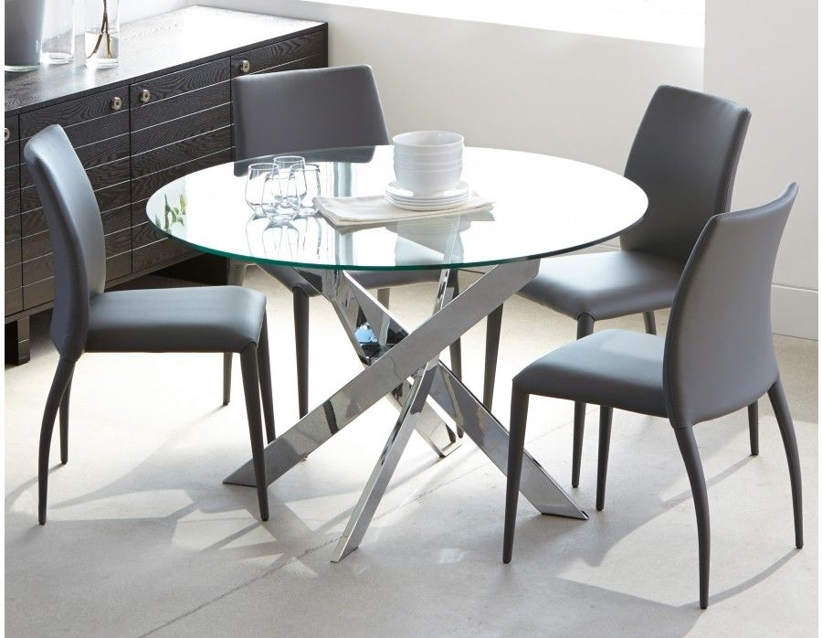 Ibiza – Round Glass And Chrome Dining Table 47'' – Chrome | Home In Glass And Chrome Dining Tables And Chairs (View 7 of 25)