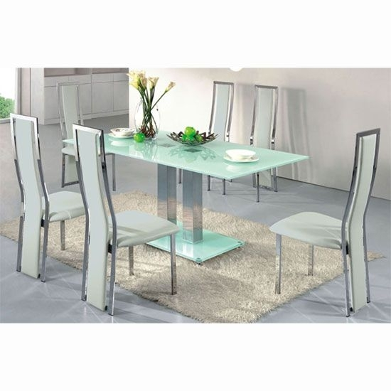 Ice Dining Table In Frosted Glass With 4 Dining Chairs White | Home intended for Smoked Glass Dining Tables And Chairs