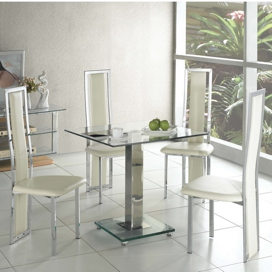 Ice Dining Table Square In Clear Glass With 4 Cream Dining Pertaining To Cream Dining Tables And Chairs (View 15 of 25)