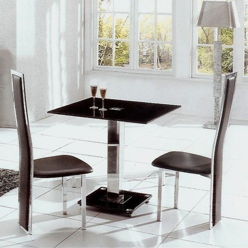 Ice Glass Dining Table Square With 4 Dining Chairs In Black Regarding Square Black Glass Dining Tables (View 17 of 25)