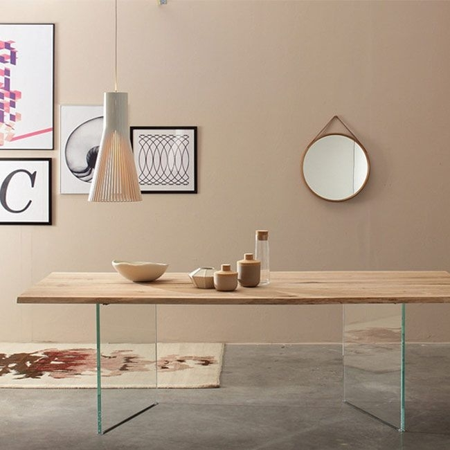 Ice Twins Oak And Glass Dining Table Within Glass Oak Dining Tables (Image 16 of 25)
