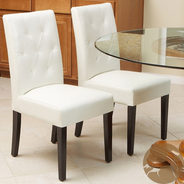 Ideal Christopher Knight Home Gentry Bonded Leather Ivory Dining Within Ivory Leather Dining Chairs (Image 11 of 25)