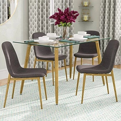 Ids Home Dining Room Chair Set For 4 Wooden Look Pattern Leg Table Inside Dining Room Chairs Only (Image 20 of 25)