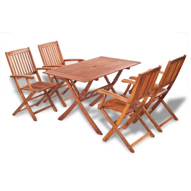 Ikayaa 5Pcs Outdoor Dining Set Acacia Wood Table Folding Outdoor Within Outdoor Dining Table And Chairs Sets (View 20 of 25)