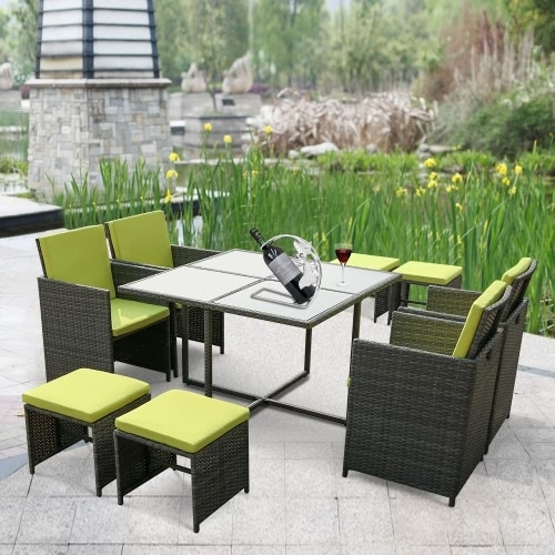 Ikayaa 9Pcs/8-Seater Rattan Patio Garden Dining Set Furniture for 8 Seat Outdoor Dining Tables