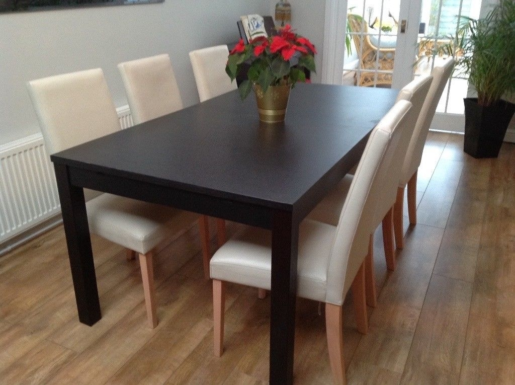 Ikea Bjursta Black Extendable Dining Table & 6 Cream Chairs | In For Black Extendable Dining Tables And Chairs (View 15 of 25)