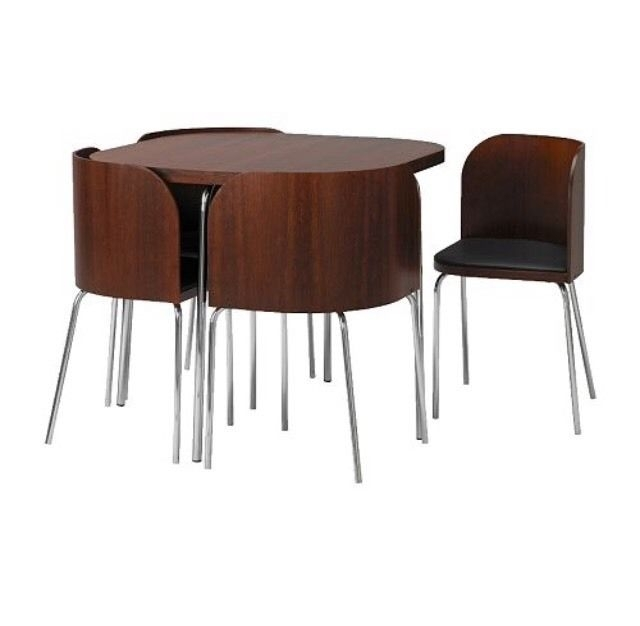 Ikea Discontinued Fusion Compact Dining Table And Chairs In Wood Within Compact Dining Tables (Image 18 of 25)