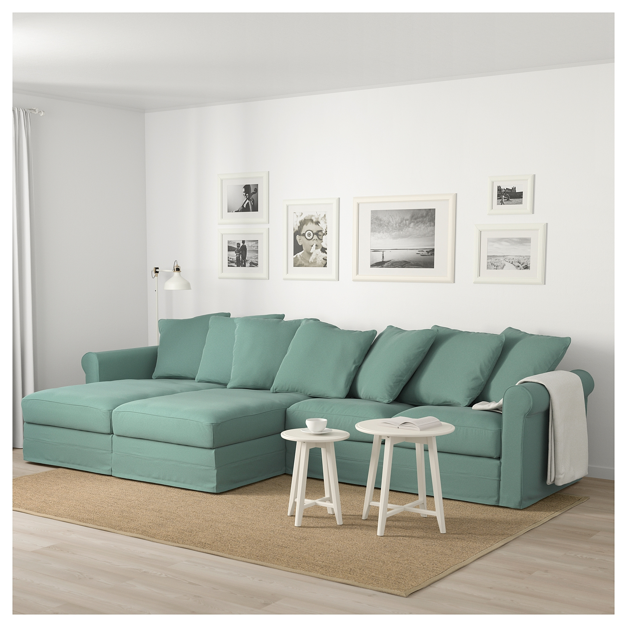 Ikea – Grönlid Sectional, 4 Seat With Chaise, Ljungen Light Green Inside London Optical Reversible Sofa Chaise Sectionals (Image 11 of 25)