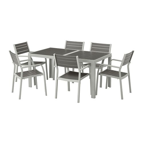 Ikea – Själland Table+6 Armchairs, Outdoor Dark Gray, Light Gray In Lassen 7 Piece Extension Rectangle Dining Sets (View 5 of 25)