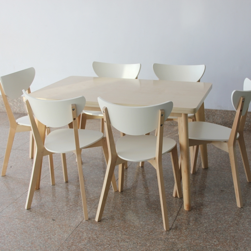 Ikea Style Dining Table And Chairs Rectangular Tables Wood Laminate Within Birch Dining Tables (Image 13 of 25)