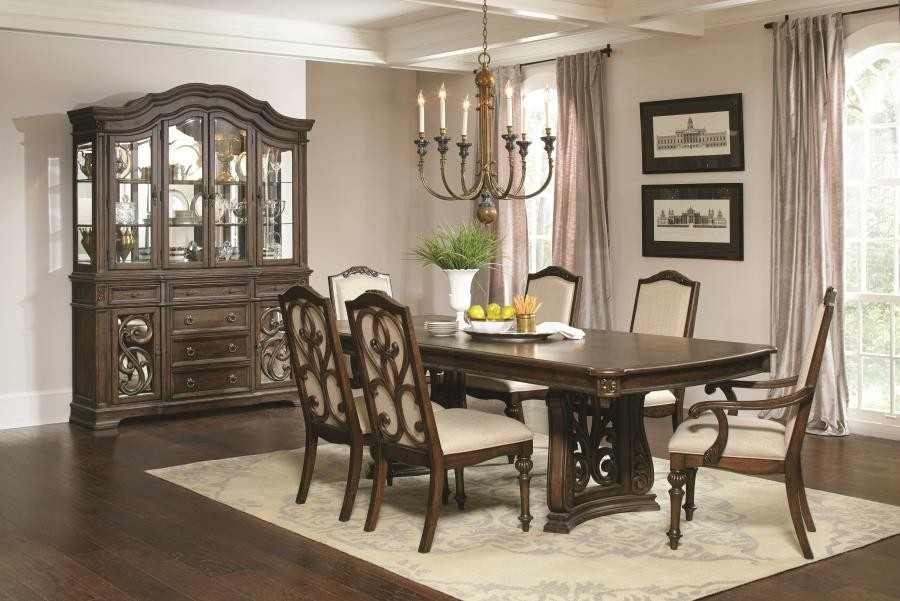 Ilana Traditional Antique Java Rectangular Formal Five Piece Dining Pertaining To Java Dining Tables (Image 7 of 25)