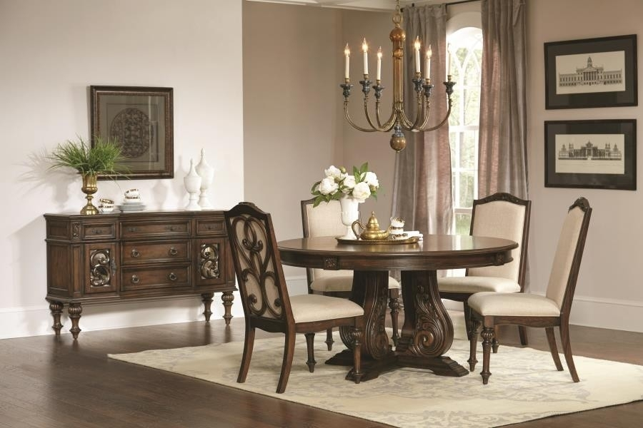 Ilana Traditional Antique Java Round Formal Five Piece Dining Table Within Java Dining Tables (Image 8 of 25)