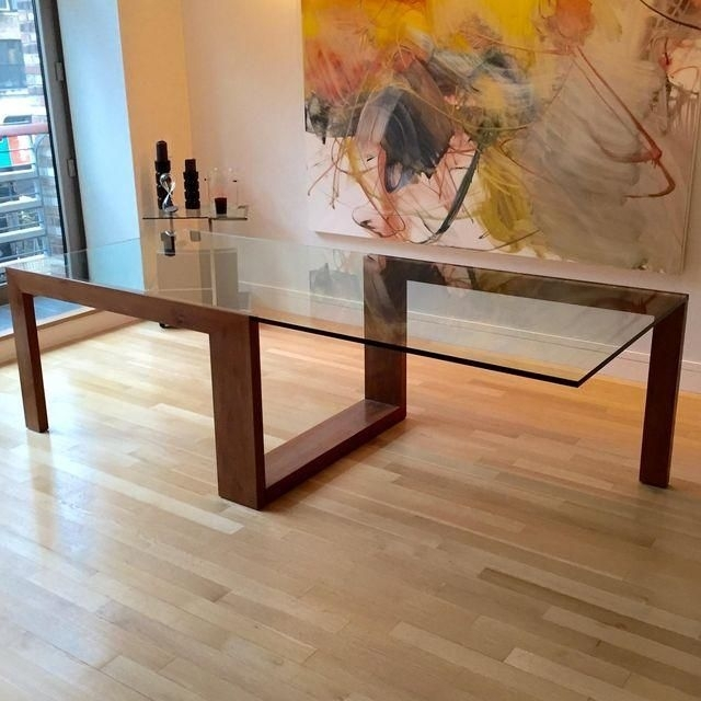 Image Of Contemporary Glass Top Dining Table | Woodpecker For Wood Glass Dining Tables (Image 17 of 25)