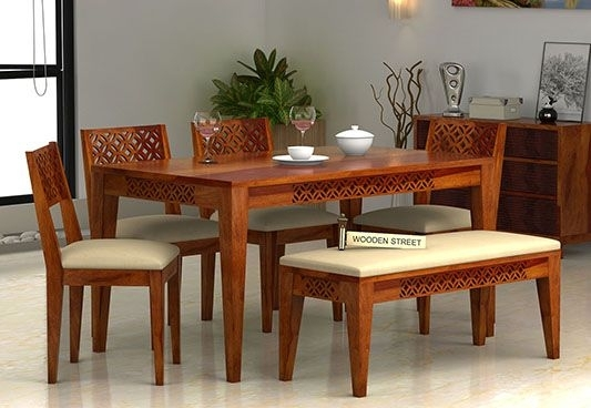 Image Result For 6 Seater Dining Table With Bench | Hotel Sapna Pertaining To 6 Seater Dining Tables (Image 19 of 25)