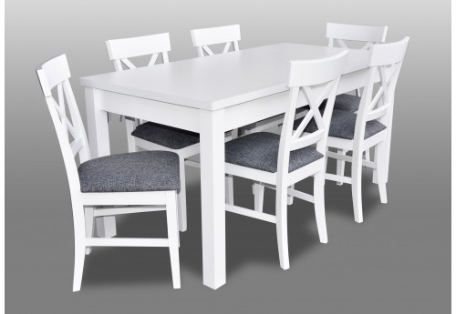 Imágenes De White Dining Room Table With Chairs Inside Combs 5 Piece 48 Inch Extension Dining Sets With Pearson White Chairs (Image 17 of 25)