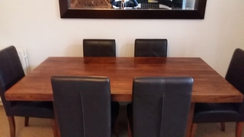 Immaculate Solid Sheesham Wood Dining Table And Six Matching Leather Pertaining To Sheesham Wood Dining Chairs (Image 10 of 25)