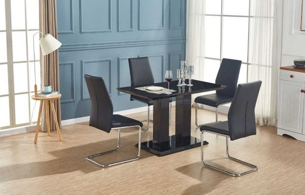 Imperia Modern Black High Gloss Dining Table And 4 Lorenzo Chrome Pertaining To Chrome Dining Sets (View 14 of 25)