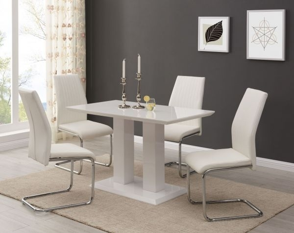 Imperia Modern White High Gloss Dining Table And 4 Lorenzo Chrome Within Modern Dining Tables And Chairs (Image 9 of 25)