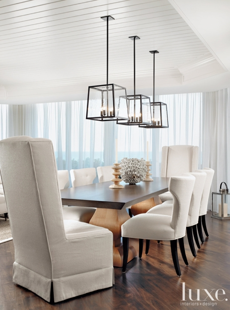 In This Stunning Dining Room, Three Holly Hunt Light Fixtures Are In Lighting For Dining Tables (Image 16 of 25)
