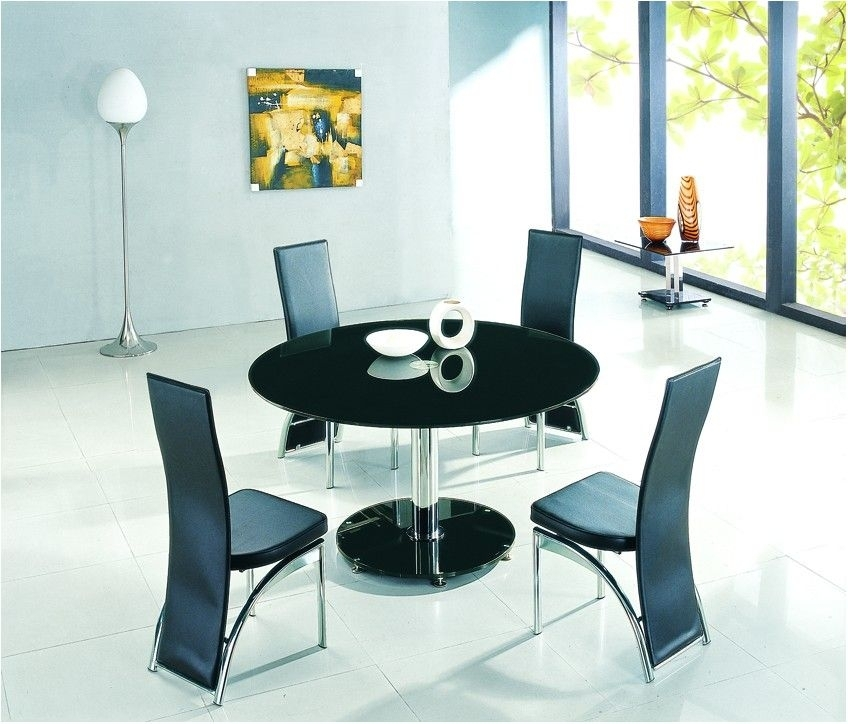 Incredible Black Glass Dining Table Set With 4 Faux Leather Chairs Throughout Round Black Glass Dining Tables And 4 Chairs (View 8 of 25)