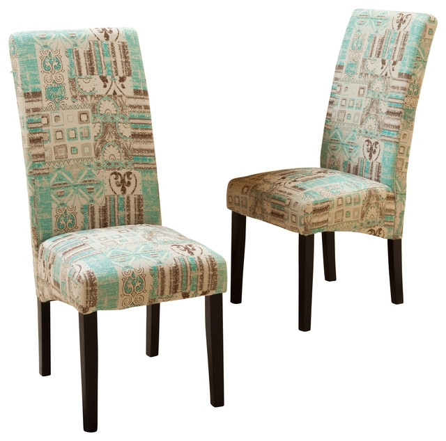 India Geometric Fabric Dining Chairs, Set Of 2 - Mediterranean in Fabric Dining Room Chairs