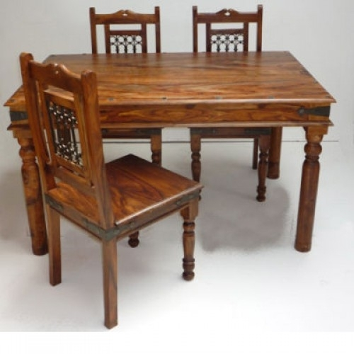 Indian Jali 135Cm Dining Table & 4 Chairs Intended For Indian Style Dining Tables (Image 13 of 25)