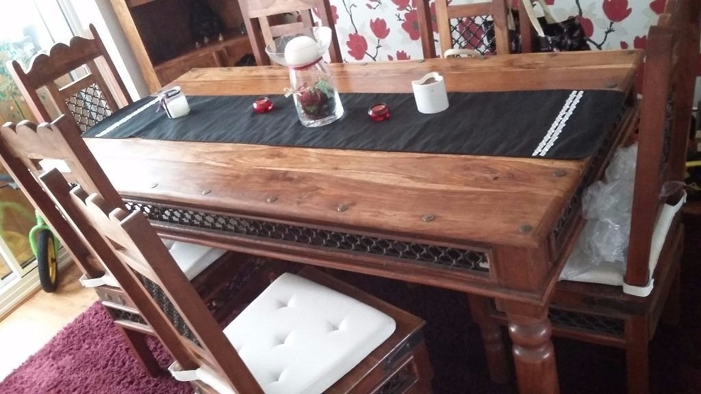 Indian Jali Style Dining Table, 6 Chairs And Corner Unit | In Regarding Indian Style Dining Tables (View 18 of 25)
