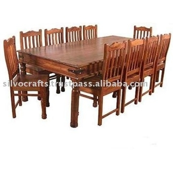 Indian Jodhpur Rajasthan Solid Sheesham Wood Dining Sets With Dining Throughout Indian Dining Chairs (Image 12 of 25)