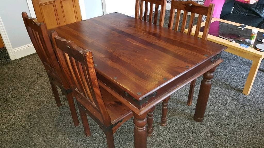 Indian Sheesham Dining Table And 4 Chairs | In Halifax, West Regarding Sheesham Dining Tables (Image 8 of 25)