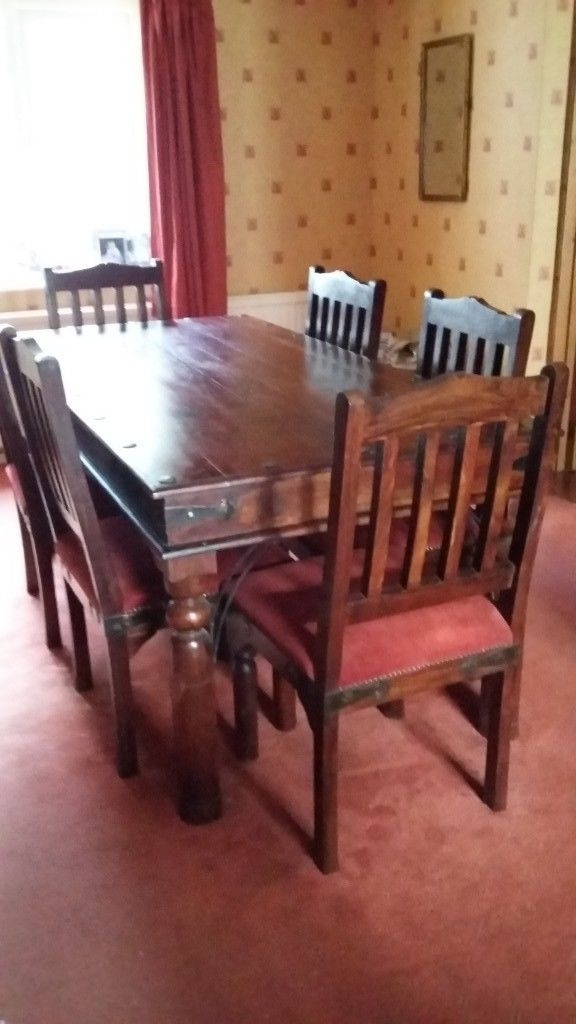 Indian Style 6 Seater Wooden Dining Table And Six Padded Wooden Throughout Indian Style Dining Tables (Image 21 of 25)