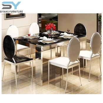 Indian Style Glass Furniture Stainless Steel Dining Table Ct009 throughout Indian Style Dining Tables