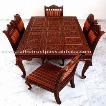 Indian Teak Wood Hand Carved Dining Room Set & Restaurant Furniture Regarding Indian Dining Room Furniture (View 17 of 25)