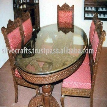 Indian Teak Wood Hand Carved Dining Room Set & Restaurant Furniture Throughout Indian Dining Chairs (Image 14 of 25)