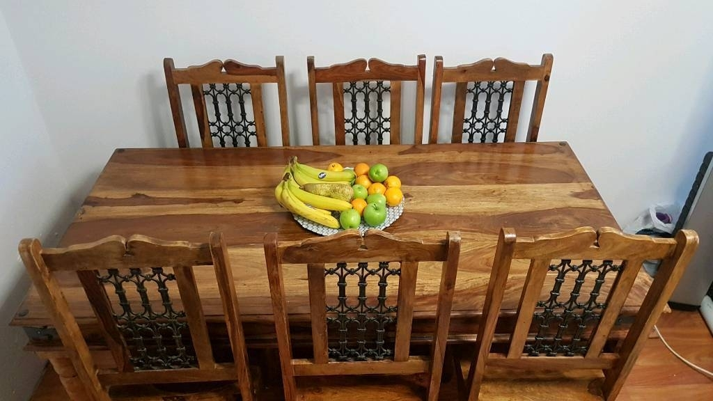 Indian Wood Dining Table And 6 Chairs (Image 15 of 25)