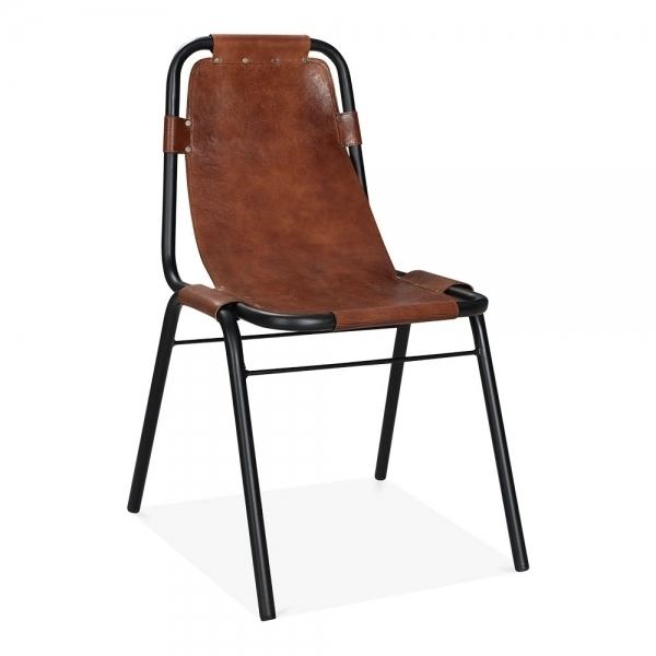 Industrial Brown Leather Dining Chair – Heyl Interiors For Brown Leather Dining Chairs (Image 17 of 25)