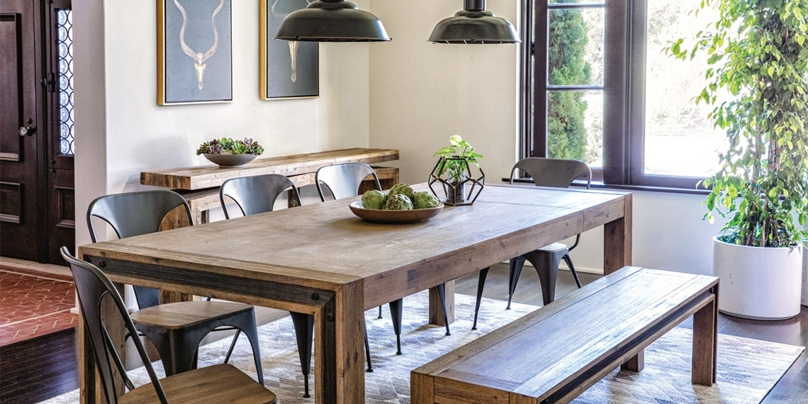 Industrial Dining Room With Amos Extension Dining Table | Living Spaces In Amos Extension Dining Tables (Image 14 of 25)