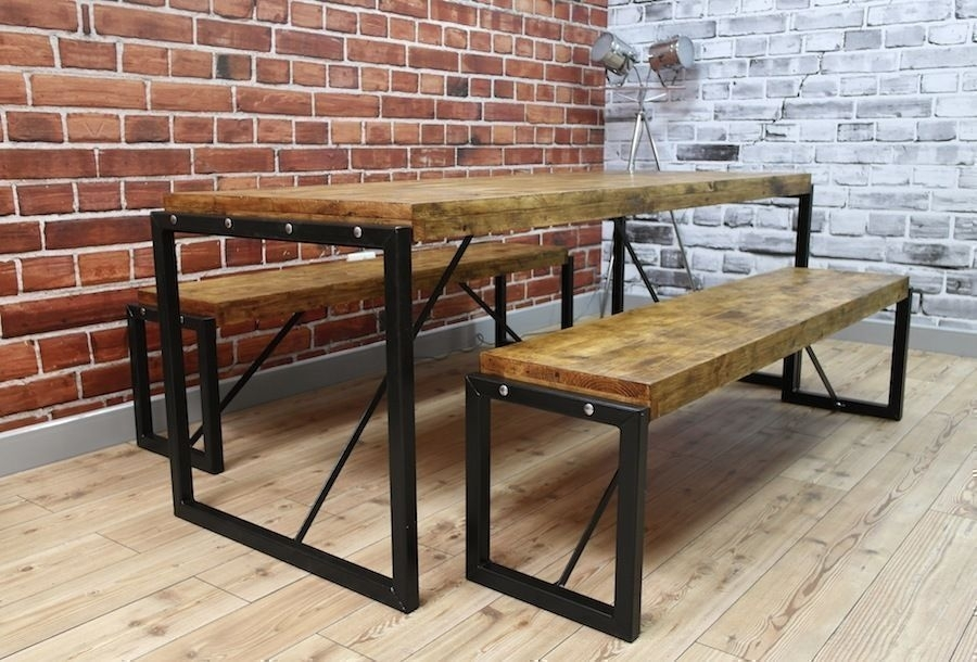 Industrial Dining Table Steel & Reclaimed Wood / Benches / Set | In With Cheap Reclaimed Wood Dining Tables (Image 10 of 25)