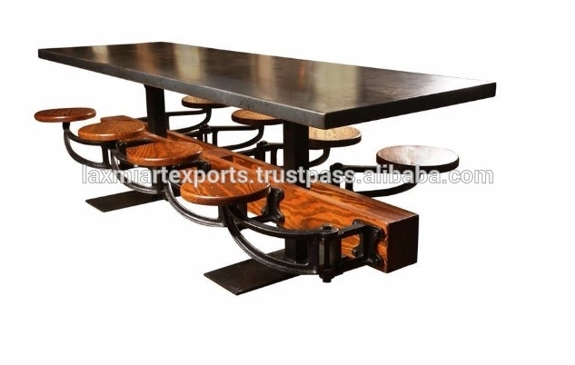 Industrial Dining Table With Attached 8 Eight Swinging Stools In Dining Tables With Attached Stools (Image 14 of 25)
