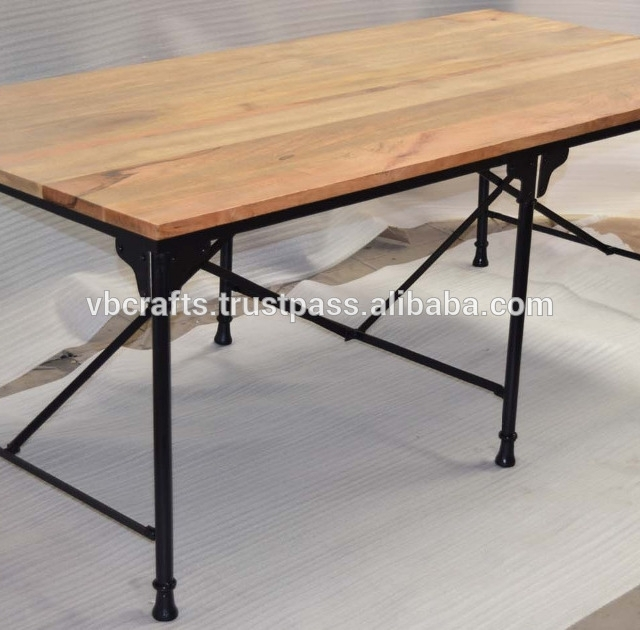 Industrial Metal Dining Table Folding Mango Wood Top – Buy Intended For Mango Wood/iron Dining Tables (Image 9 of 25)
