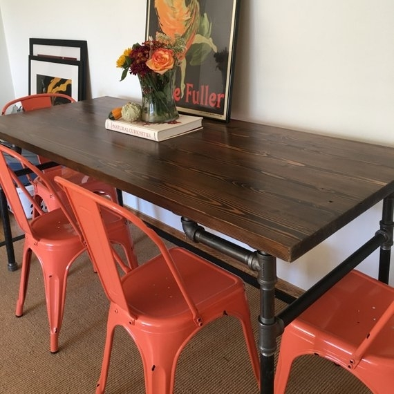 Industrial Pipe Dining Table Benson Edition | Etsy For Benson Rectangle Dining Tables (Image 17 of 25)