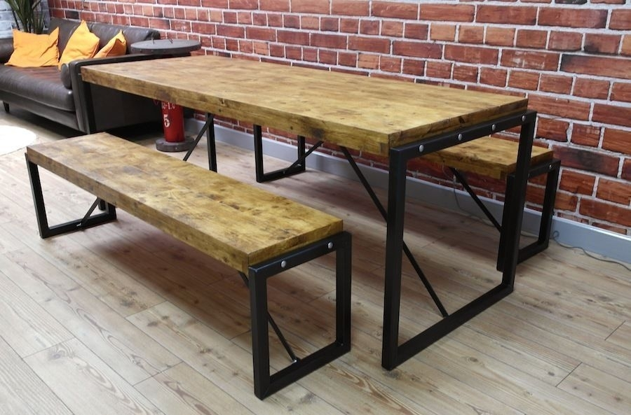 Industrial Steel & Reclaimed Wood Dining Table / Benches / Set   In Intended For Dining Tables And 2 Benches (Image 20 of 25)