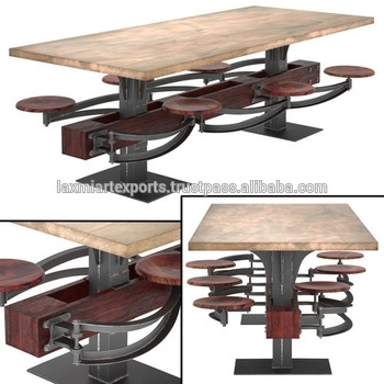 Industrial Wooden Top Dining Table With Attached 6 Swinging Stools With Dining Tables With Attached Stools (Image 15 of 25)